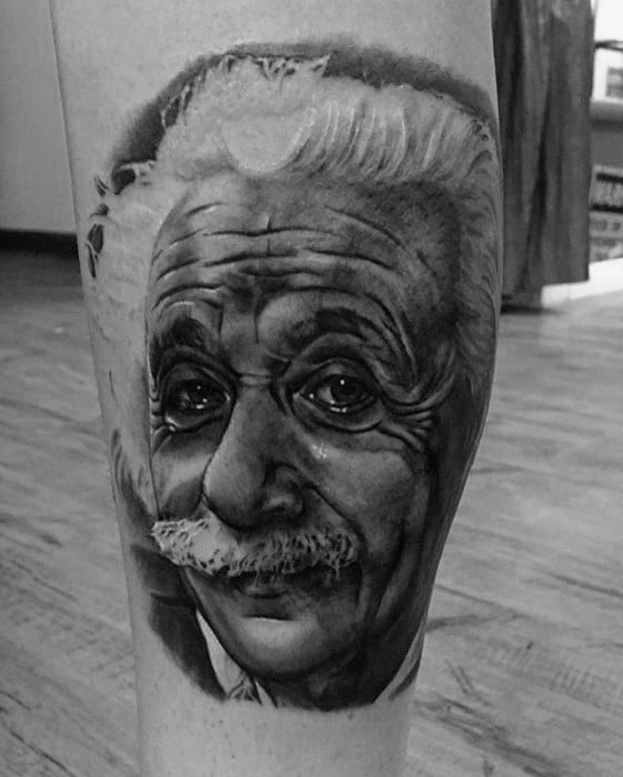 Side Of Leg Amazing Portrait Mens Albert Einstein Tattoo Designs