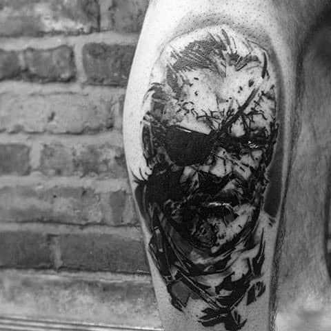 Side Of Leg Big Boss Video Game Gentleman With Metal Gear Tattoo