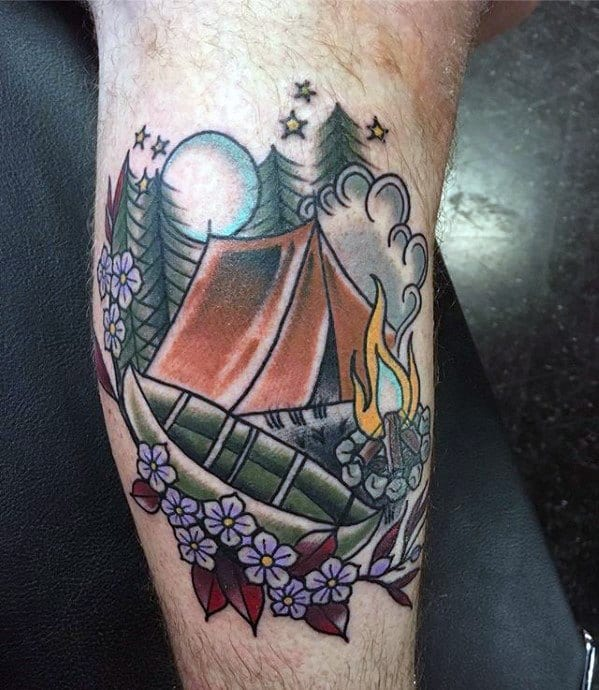 Side Of Leg Camping Tattoo Designs For Guys
