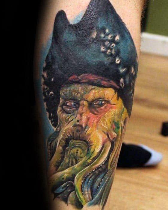 Side Of Leg Cool Male Davy Jones Tattoo Designs