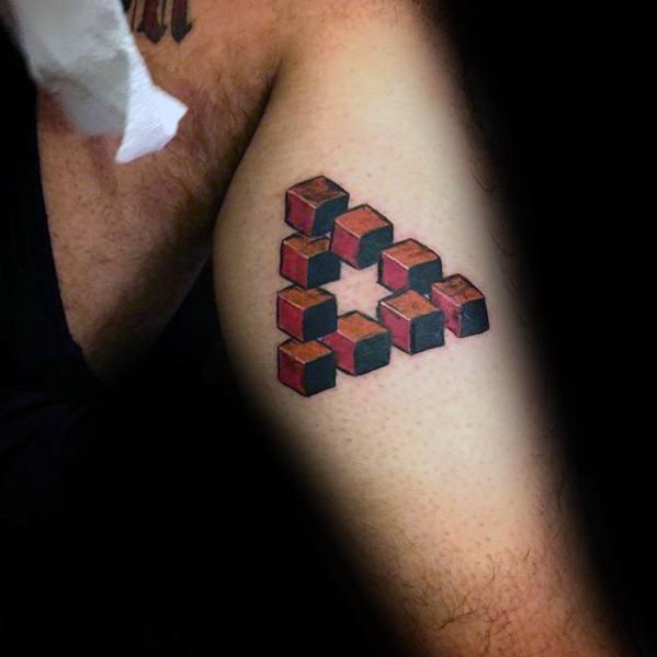 Side Of Leg Cube Mens Penrose Triangle Tattoo Design Ideas
