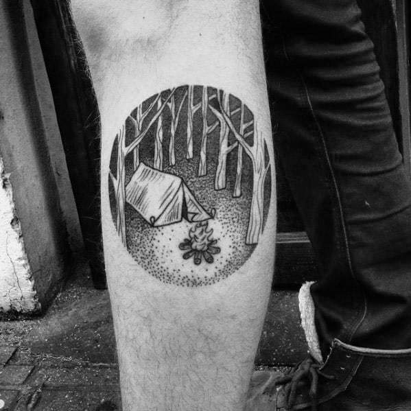 Side Of Leg Dotwork Circle Tent Male Tattoo Designs