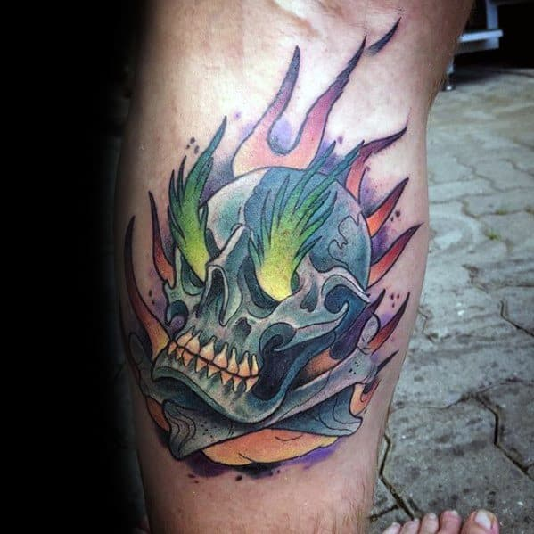 Side Of Leg Flaming Skull Tattoo Ideas For Males