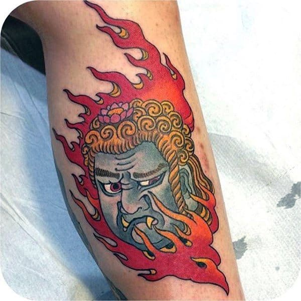Side Of Leg Fudo Myoo Tattoo Ideas For Males