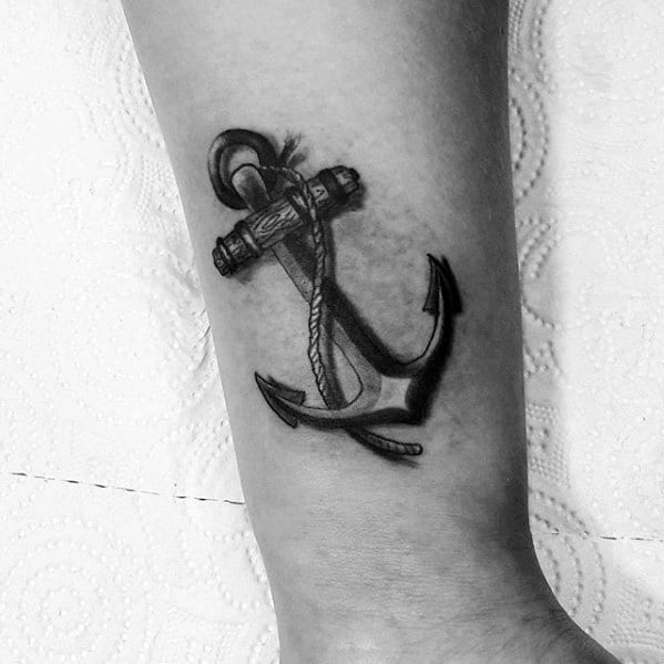 side of leg guys 3d shaded small anchor tattoo