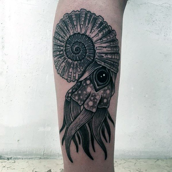 Side Of Leg Guys Ammonite Tattoos
