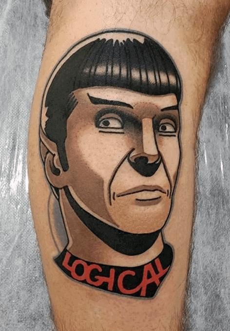 Side Of Leg Guys Star Trek Tattoos