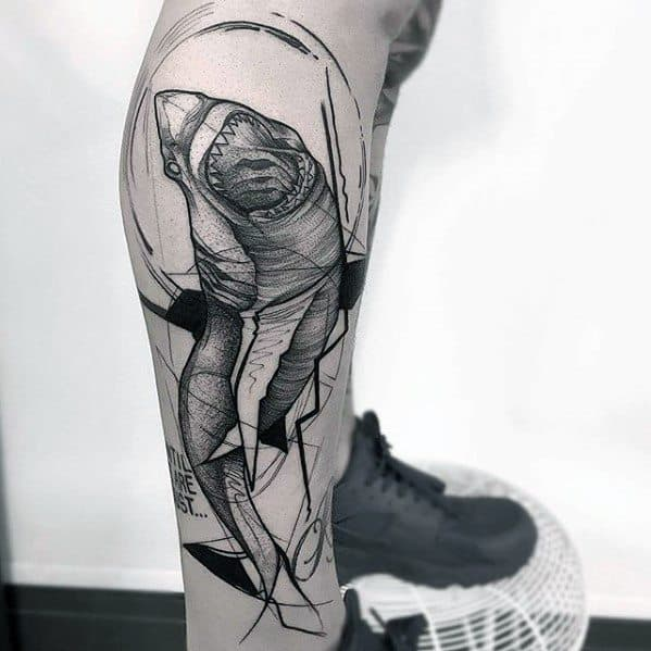 Side Of Leg Guys Tattoo Ideas Sketch Designs