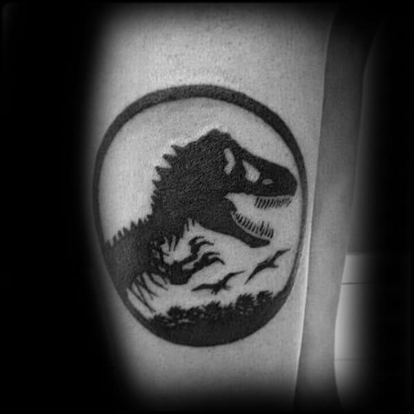 Side Of Leg Logo Jurassic Park Guys Tattoo Designs