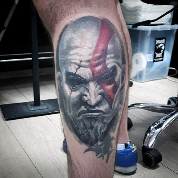 Side Of Leg Male Kratos White Ink Shaded Tattoos