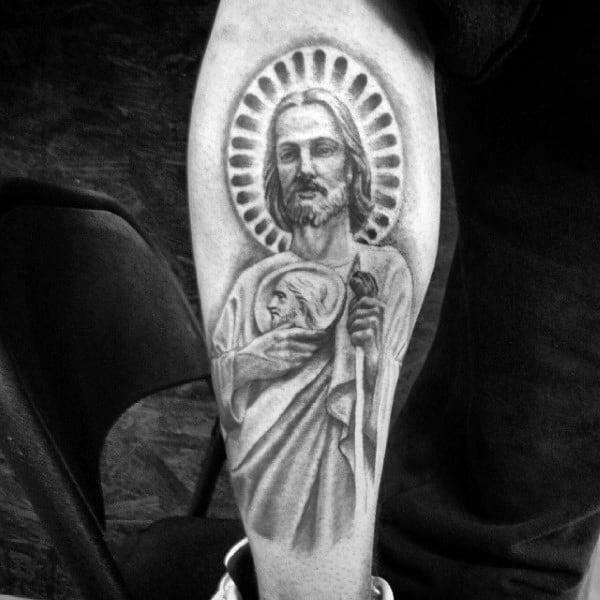 Side Of Leg Male St Jude Tattoos