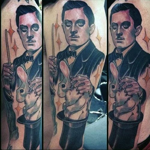 Side Of Leg Male Tattoo With Magician Design