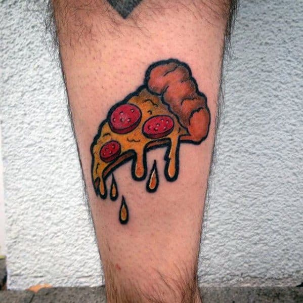Side Of Leg Male With Cool Pizza Tattoo Design