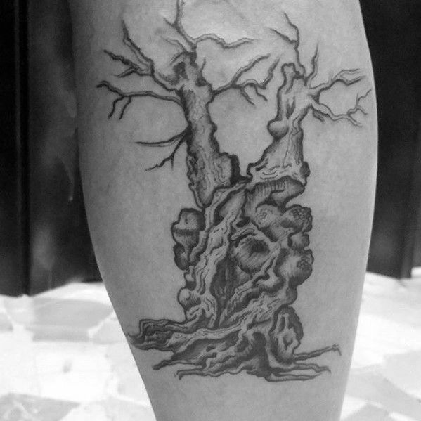 Side Of Leg Manly Olive Tree Tattoo Design Ideas For Men