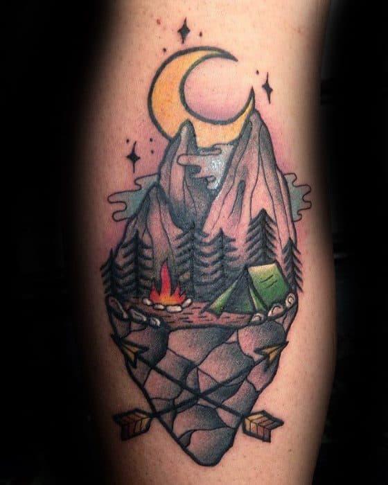 Side Of Leg Manly Tent Tattoo Design Ideas For Men