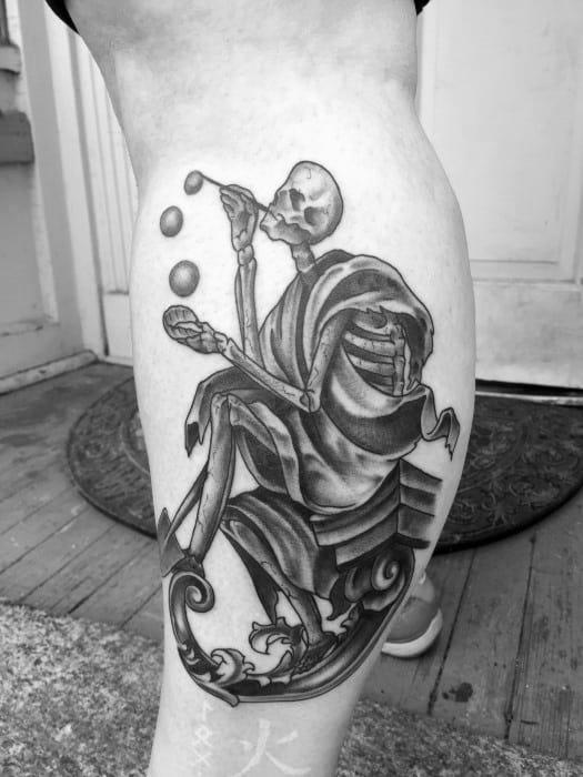 Side Of Leg Mens Cool Bubble Tattoo Ideas