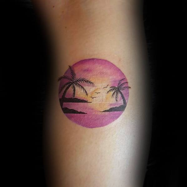 Side Of Leg Mens Sunset Beach Tropical Circle Small Tattoo