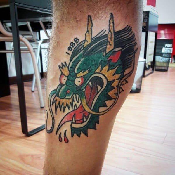 Side Of Leg Mens Tattoo Simple Dragon Design