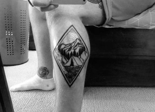Side Of Leg Mountains Camping Mens Tattoo Designs