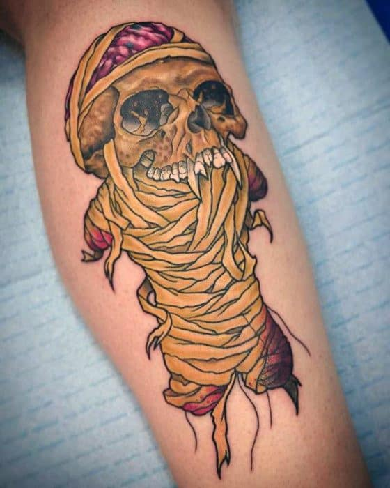 Side Of Leg Mummy Skull Guys Metallica Tattoo