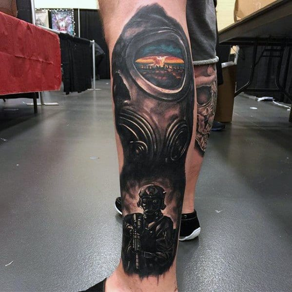 Side Of Leg Mushroom Cloud Guys Tattoo Ideas