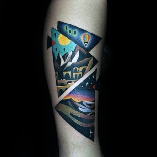 Side Of Leg Nature Landscapes Small Colorful Mens Tattoos