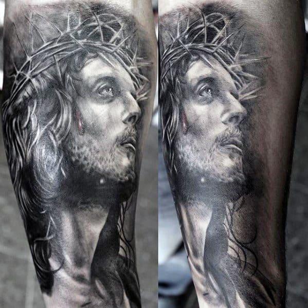 Side Of Leg Portrait 3d Jesus Male Tattoo Designs