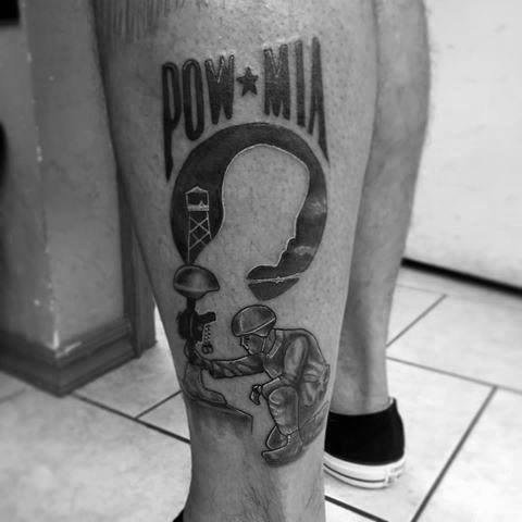 Side Of Leg Pow Mia Tattoo Ideas For Males