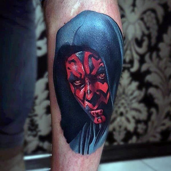 Side Of Leg Realistic 3d Creative Darth Maul Tattoos For Men