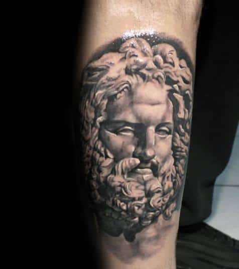 Side Of Leg Socrates Tattoo Designs For Guys