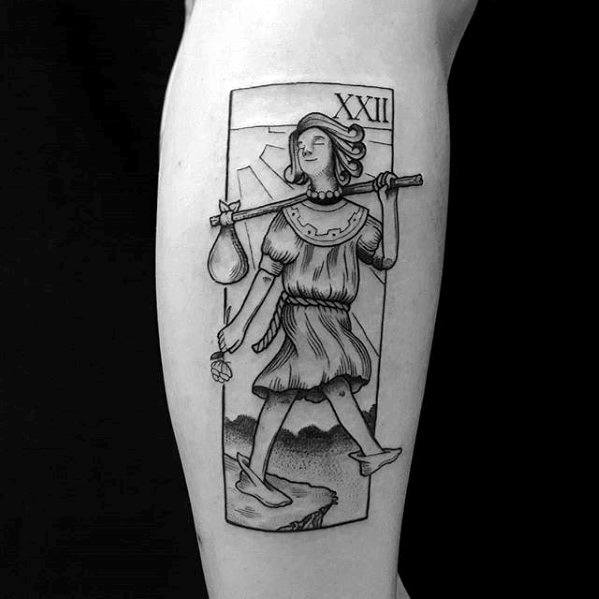 Side Of Leg Tarot Tattoo Design Ideas For Males