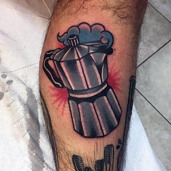 Side Of Leg Traditional Coffee Tattoo Ideas On Guys