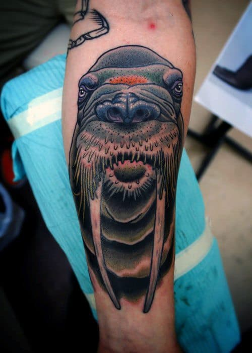 Side Of Leg Traditional Walrus Mens Tattoo Designs