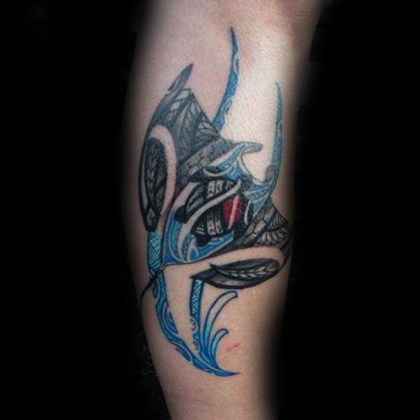 Side Of Leg Tribal Manta Ray Guys Tattoo Ideas