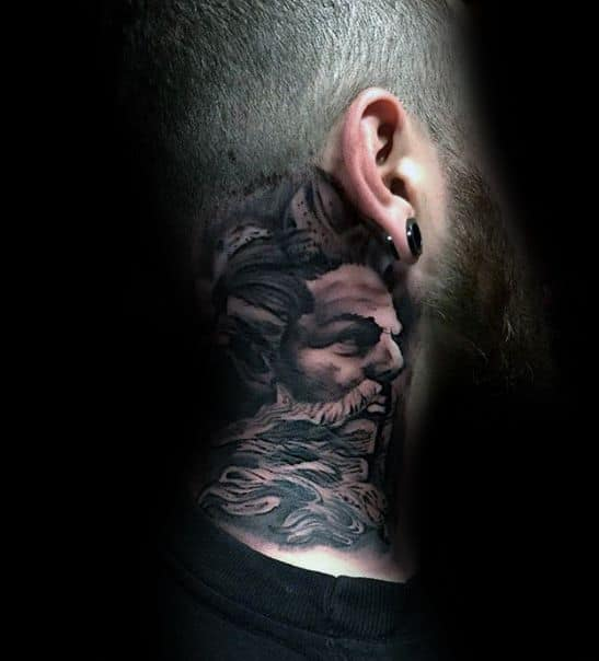 Side Of Neck Greek God Cover Up Tattoos For Men