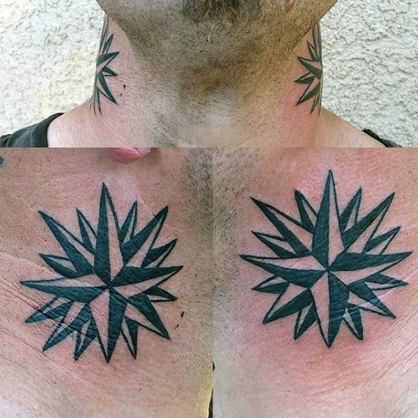 Side Of Neck Nautical Star Tattoos For Guys