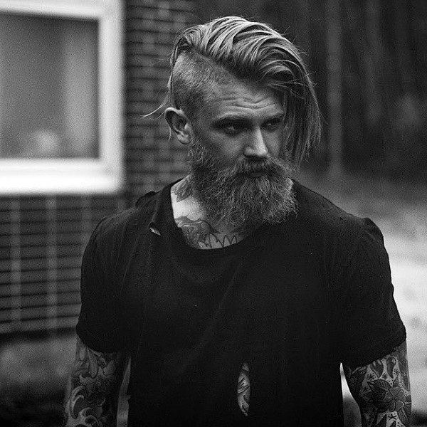 Side Part Long Undercut Mens Hairstyle With Beard