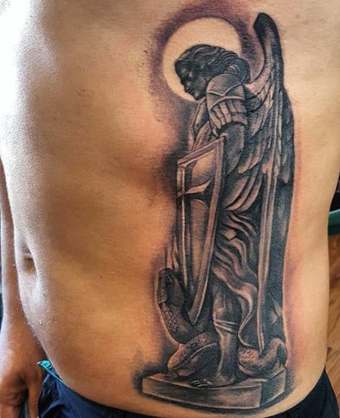 Side Rib Cage Tattoos Of Saint Michael The Archangel On Guys