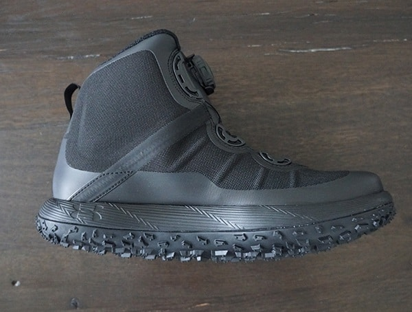 Side View Black Under Armour Fat Tire Gore Tex Boots For Men