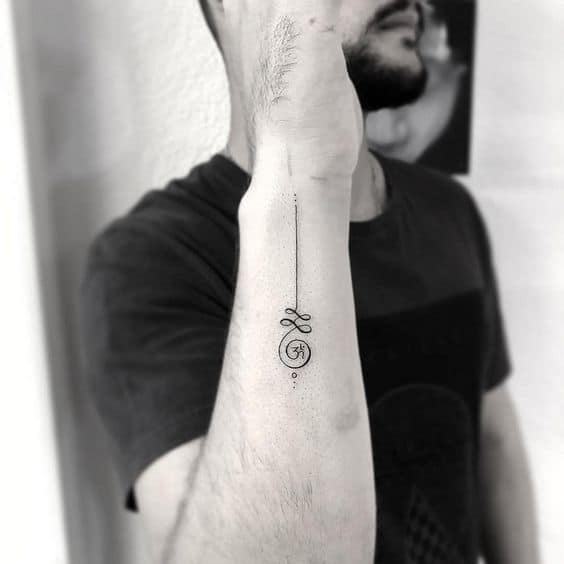 Side Wrist Unalome Tattoo