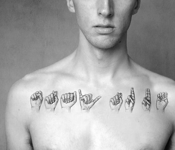 Sign Language Hands Mens Collar Bone Tattoo