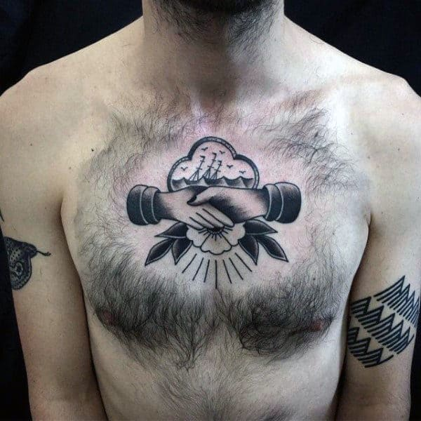 Sign Of Friendship Traditional American Tattoo Males Chest