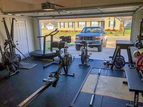 Signle Door Double Car Garage Gym Ideas
