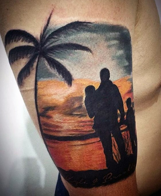 Silhouette Of Father With Children At Sunet Mens Awesome Quarter Sleeve Arm Tattoos