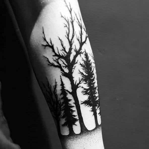 Silhouette Of Trees Mens Forearm Tattoo