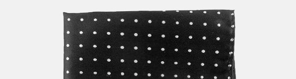 Silk Black And White Polka Dot Pocket Square