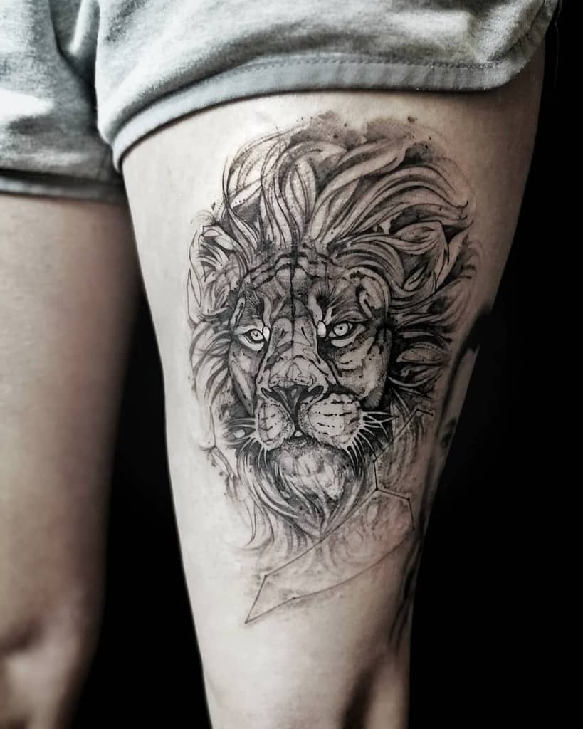 Silver back ink fine line whip shading Lion Tattoo