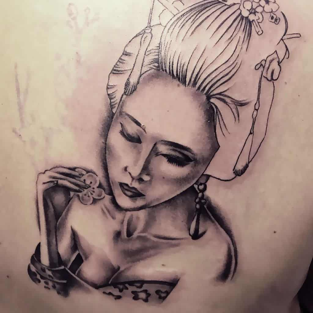 Silver Black Inked Geisha Girl Tattoo