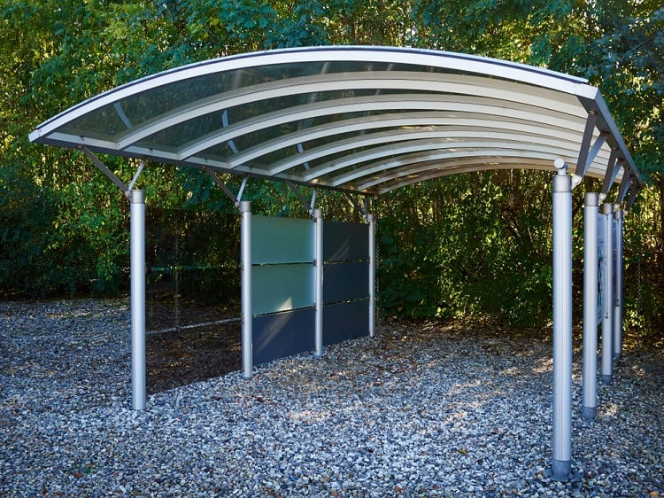 Silver Metal And Glass Modern Carport