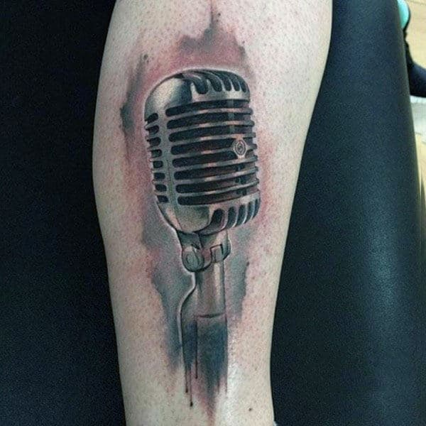 Silvery Microphone Tattoo Mens Forearms